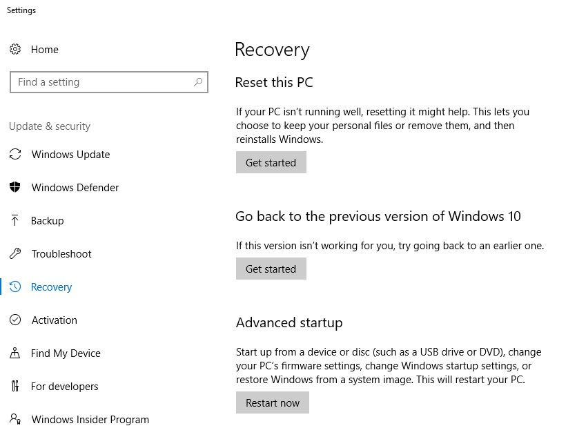 Windows 10 Receovery